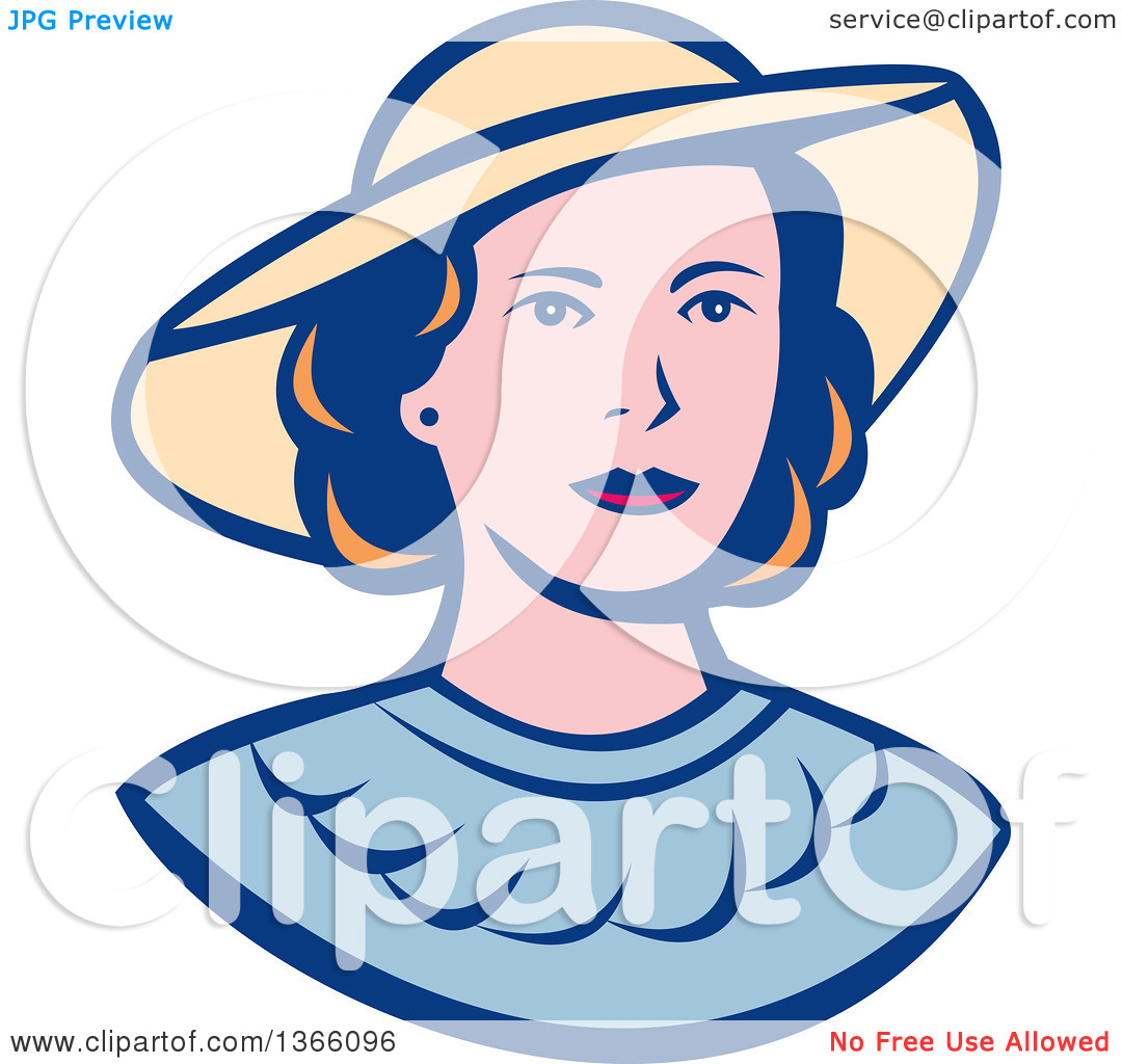Clipart of a Retro White Lady Wearing a Hat.