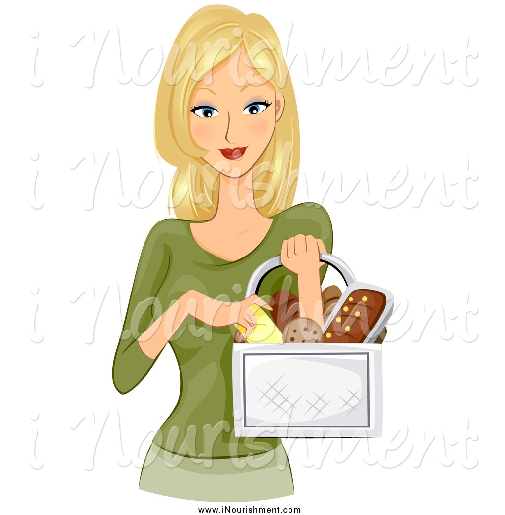 Clipart of a Pretty Blond White Woman Carrying a Basket of Bread.
