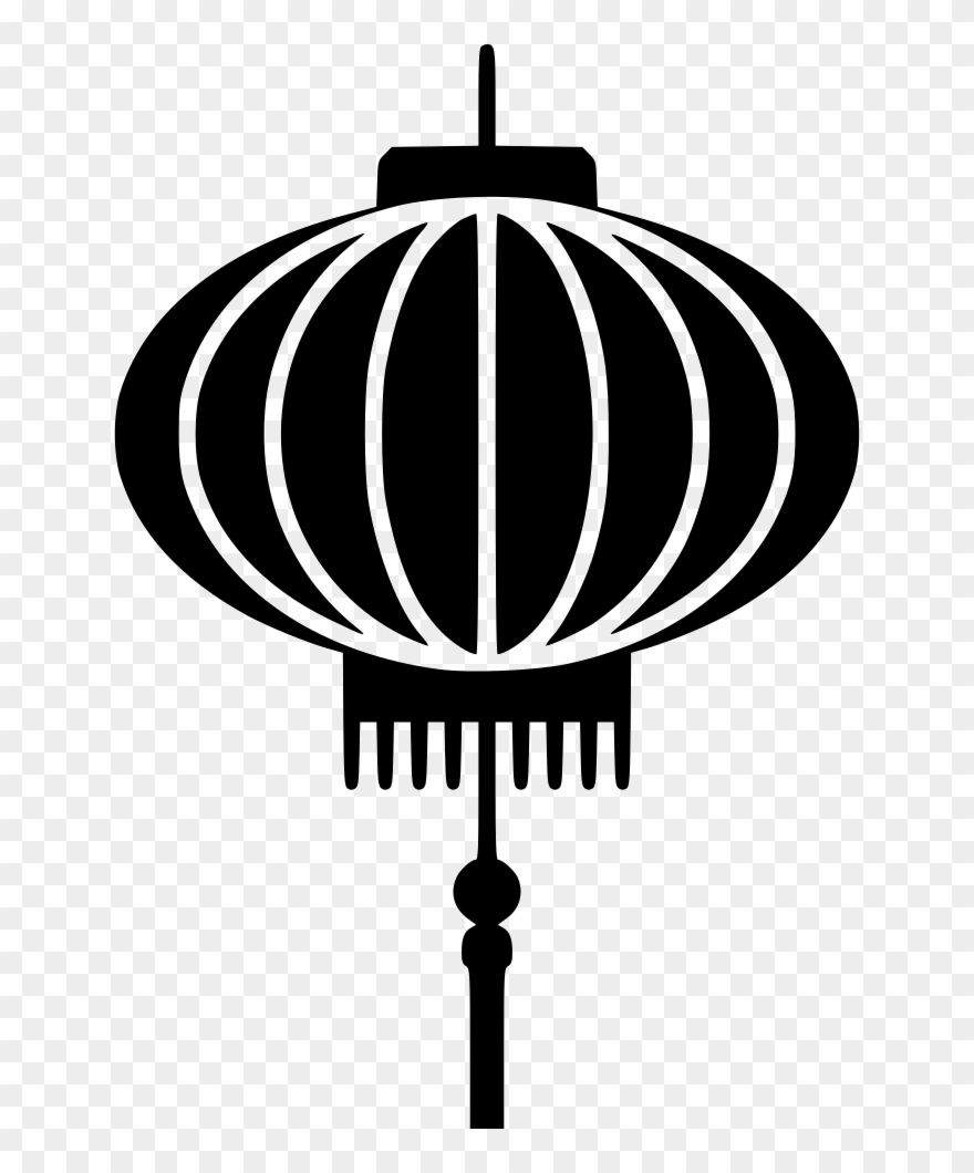 Chinese Lantern Black And White Clipart (#403494).