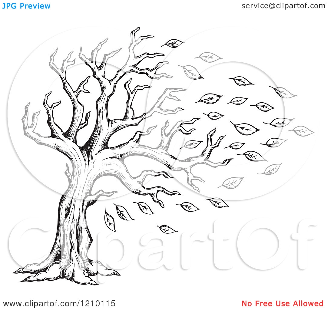 Autumn leaves clip art black and white.