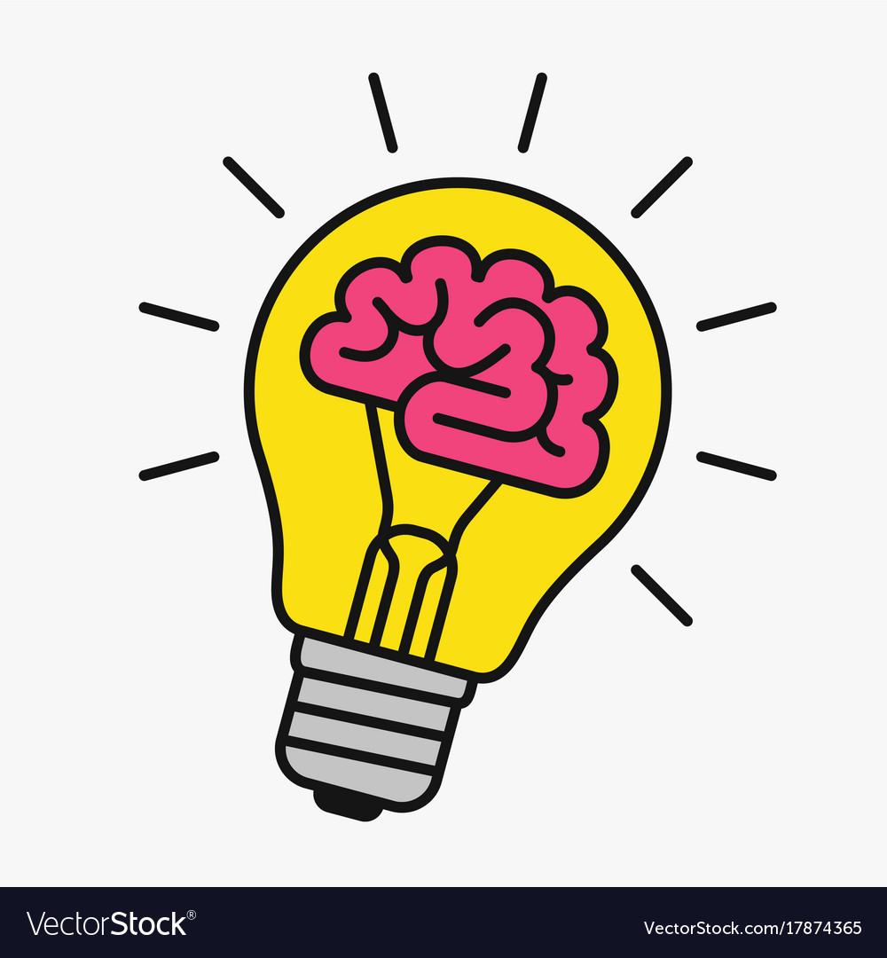 Light bulb with a brain inside.