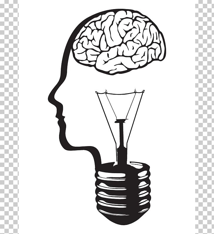 Incandescent Light Bulb Brain PNG, Clipart, Black And White.