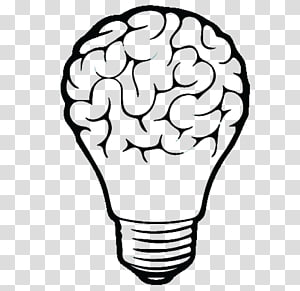 Brain and light bulb , Light Brain Logo, light transparent.