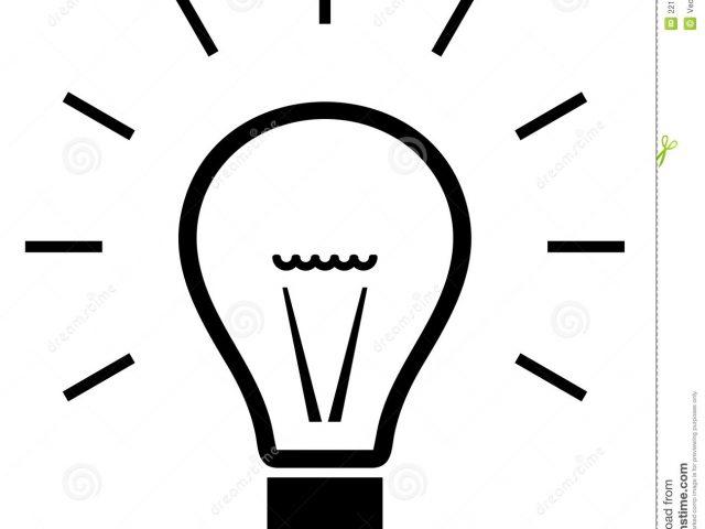 Black and white light bulb clipart.