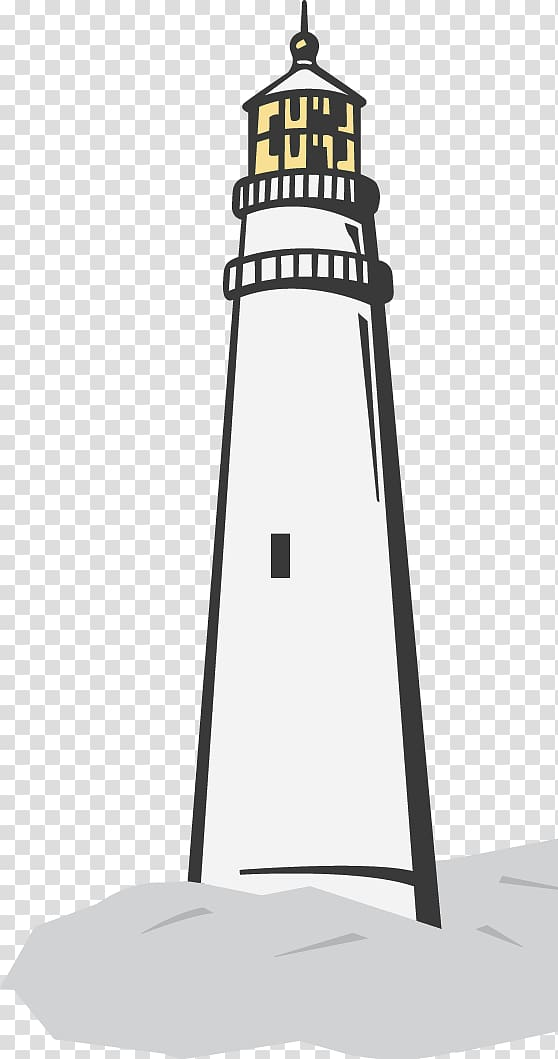Lighthouse Beacon Black and white, lighthouse transparent.
