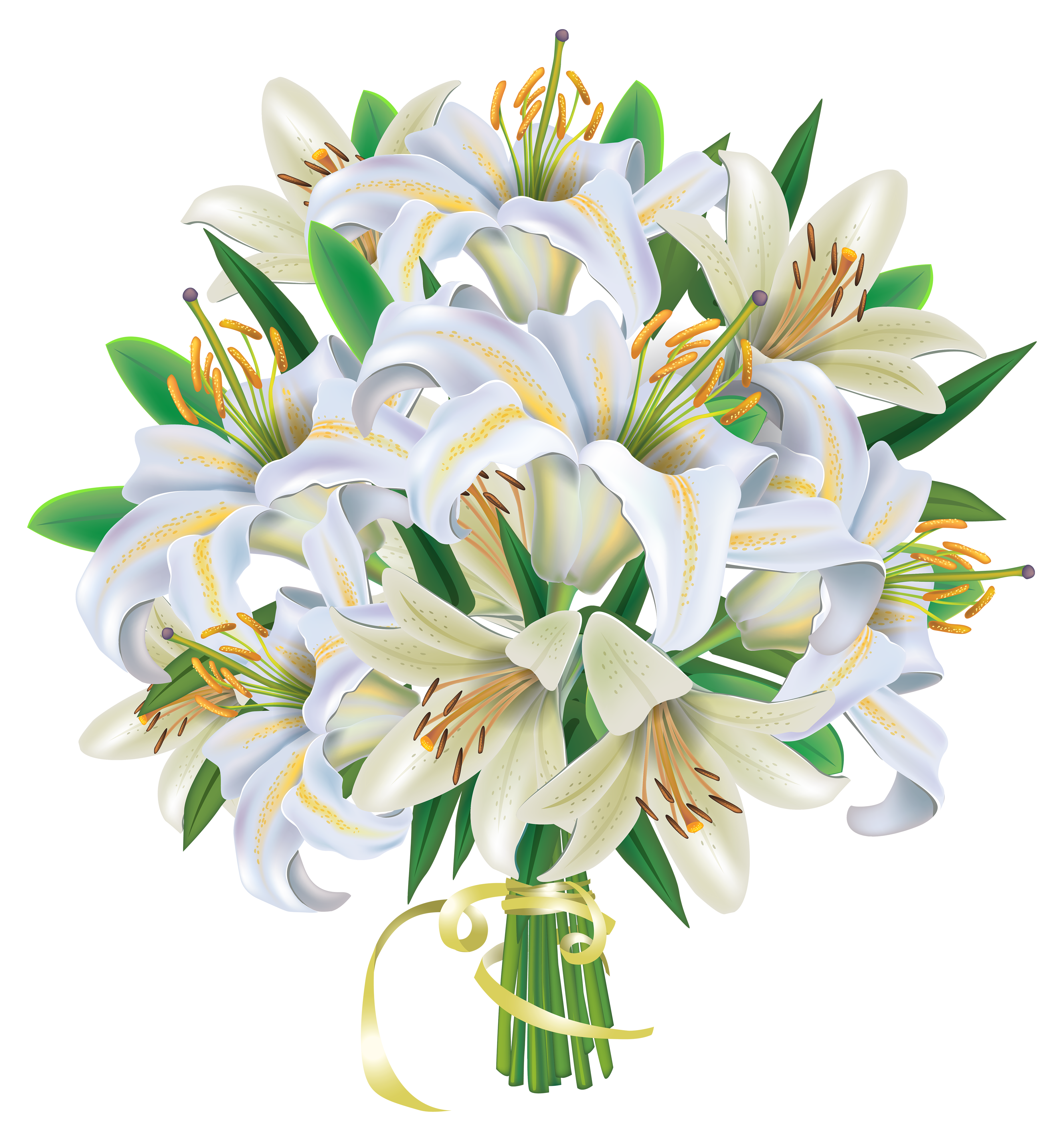 White Lilies Flowers Bouquet PNG Clipart Image.