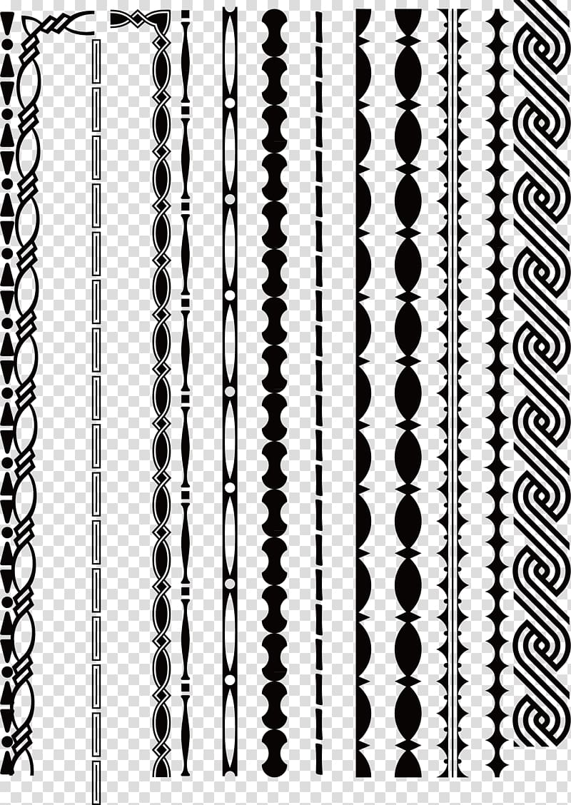 Black and white Line, decorative border lines transparent.