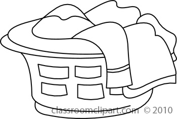 Laundry Basket Black And White Clipart.