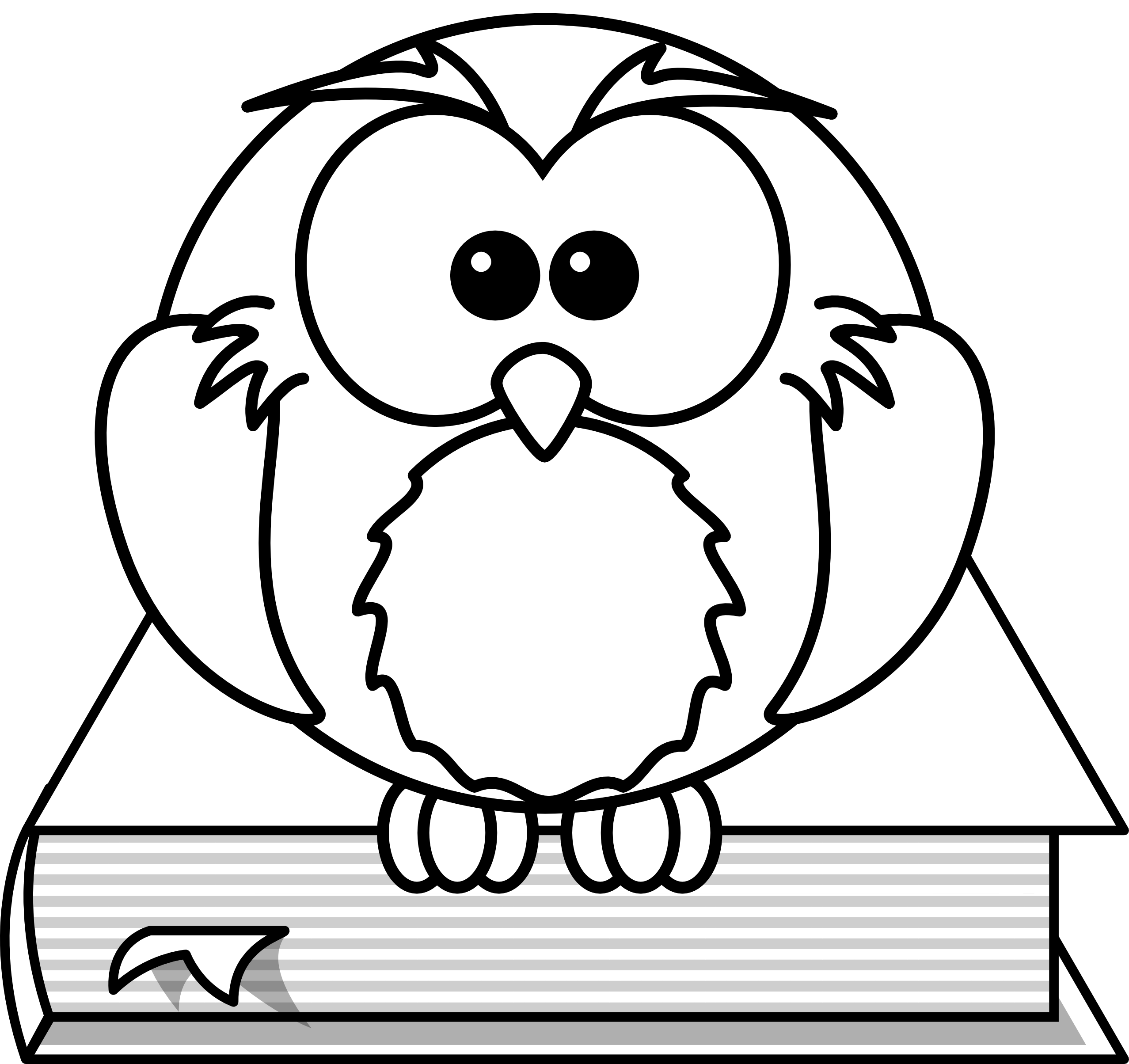 Owl Reading Clipart Black And White.