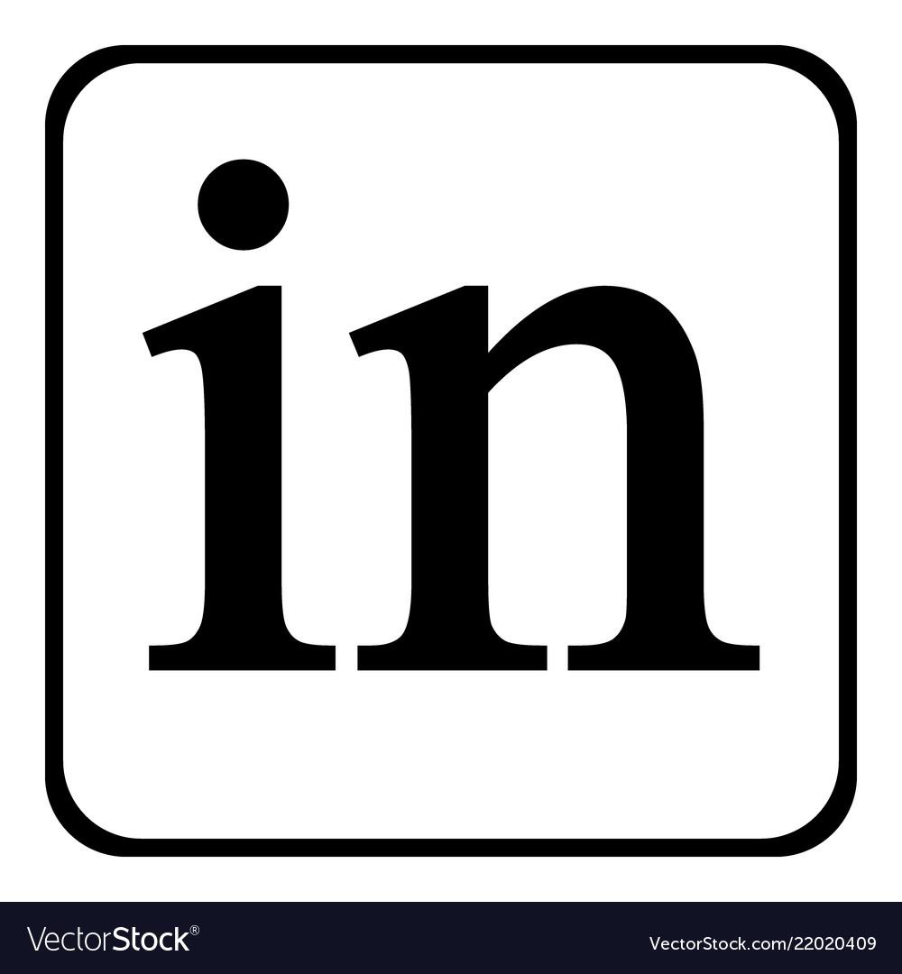 Linkedin icon on white.
