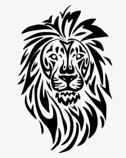 Free Lion Head Black And White Clip Art with No Background.