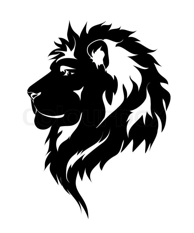 Stock vector of \'Graphic lion, black and white drawing for.