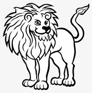 Free Lion Black And White Clip Art with No Background.