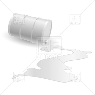 White inverted oil barrel with spilled white liquid Vector Image.