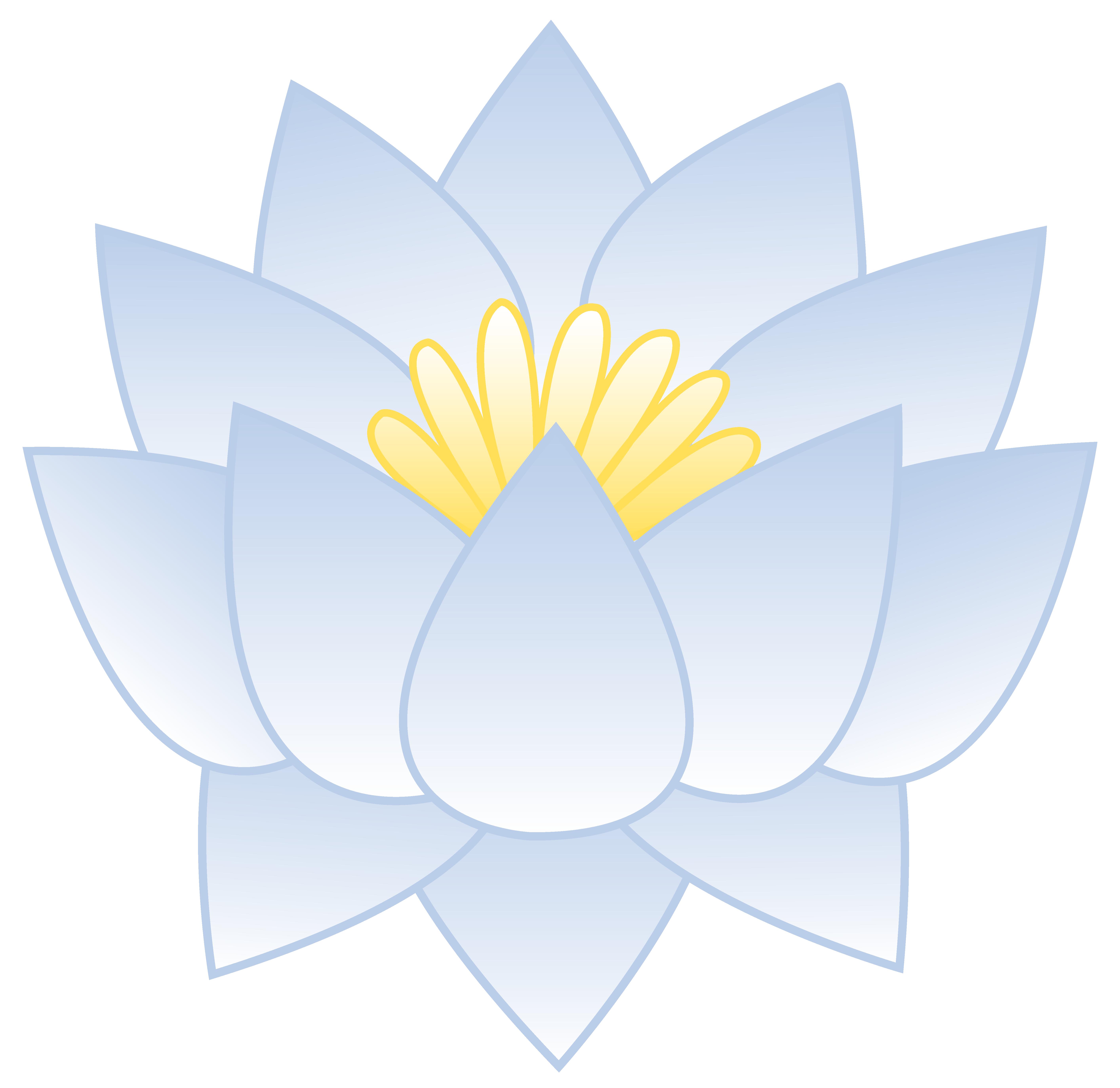 Free clip art of a pretty bluish white lotus flower.