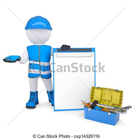 Clipart of 3d white man in overalls with checklists and tools.