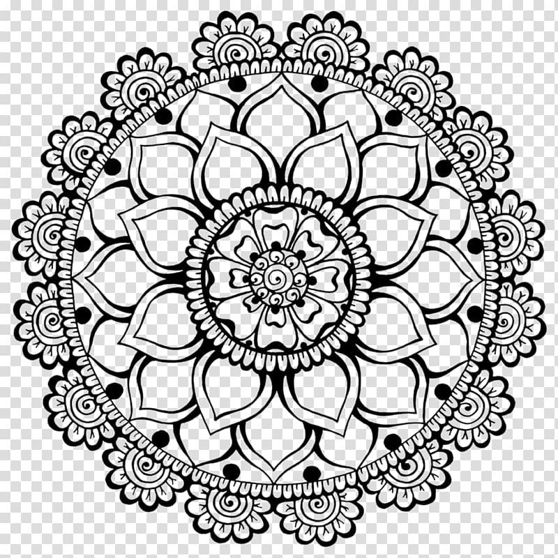 Black and white mandala illustration, Henna Mehndi Art.