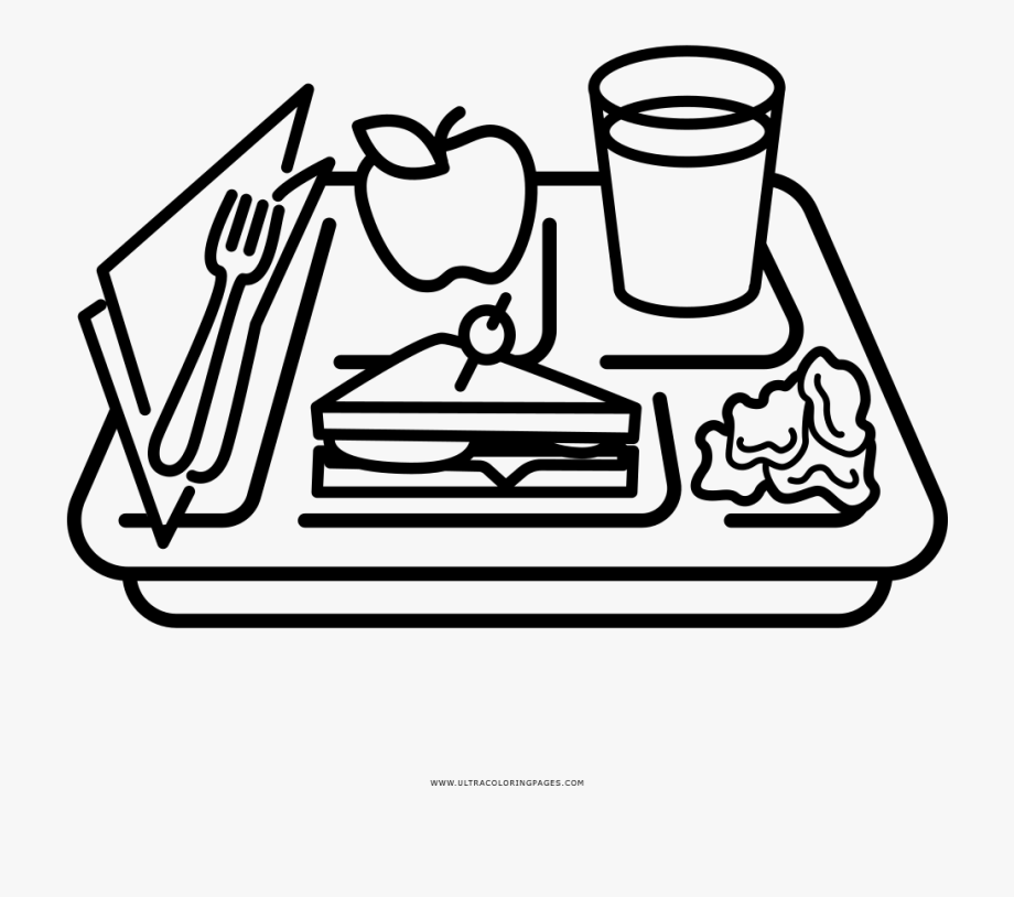Food Tray Coloring Page.