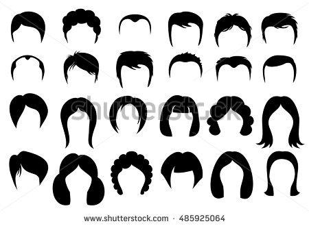 Mens Hair Silhouette Vector.