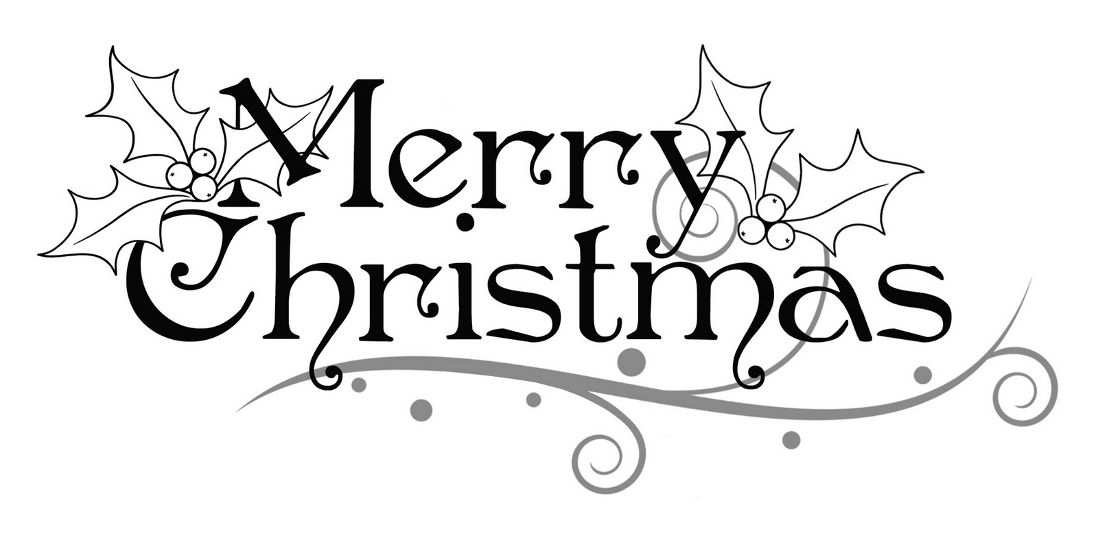 Merry Christmas Christmas Clipart Black And White.