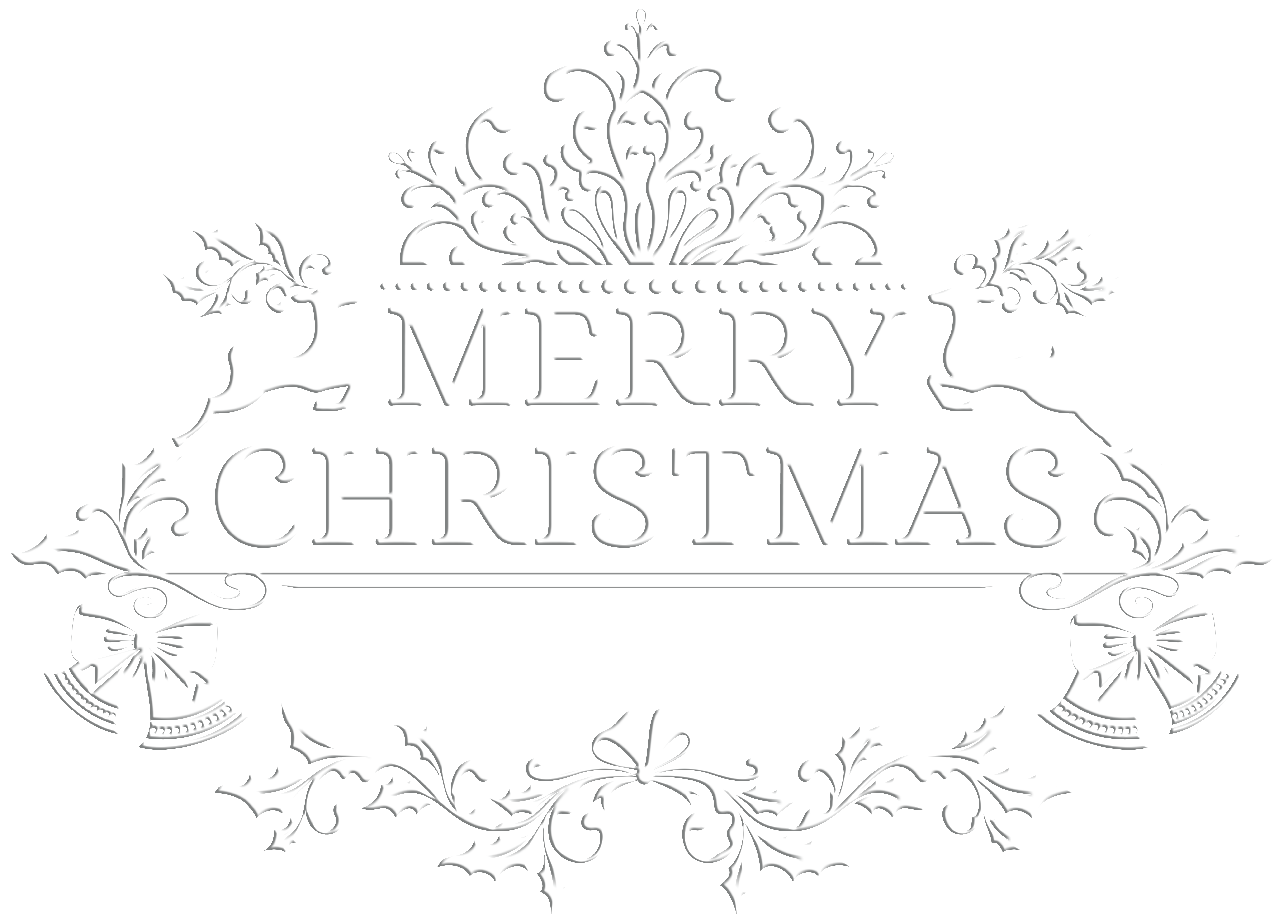 Merry Christmas White Transparent PNG Clip Art Image.