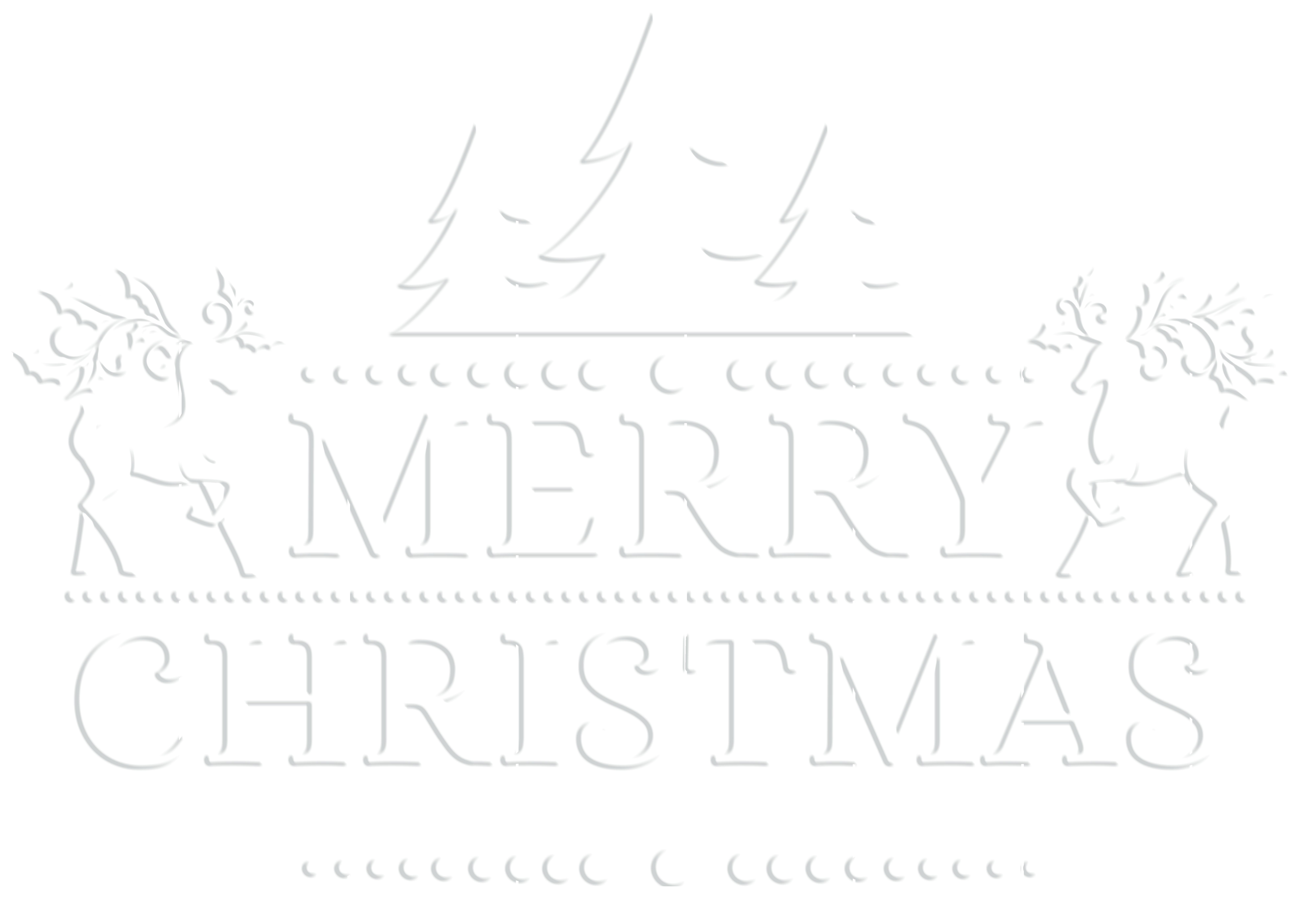 Merry Christmas White Transparent PNG Clip Art.