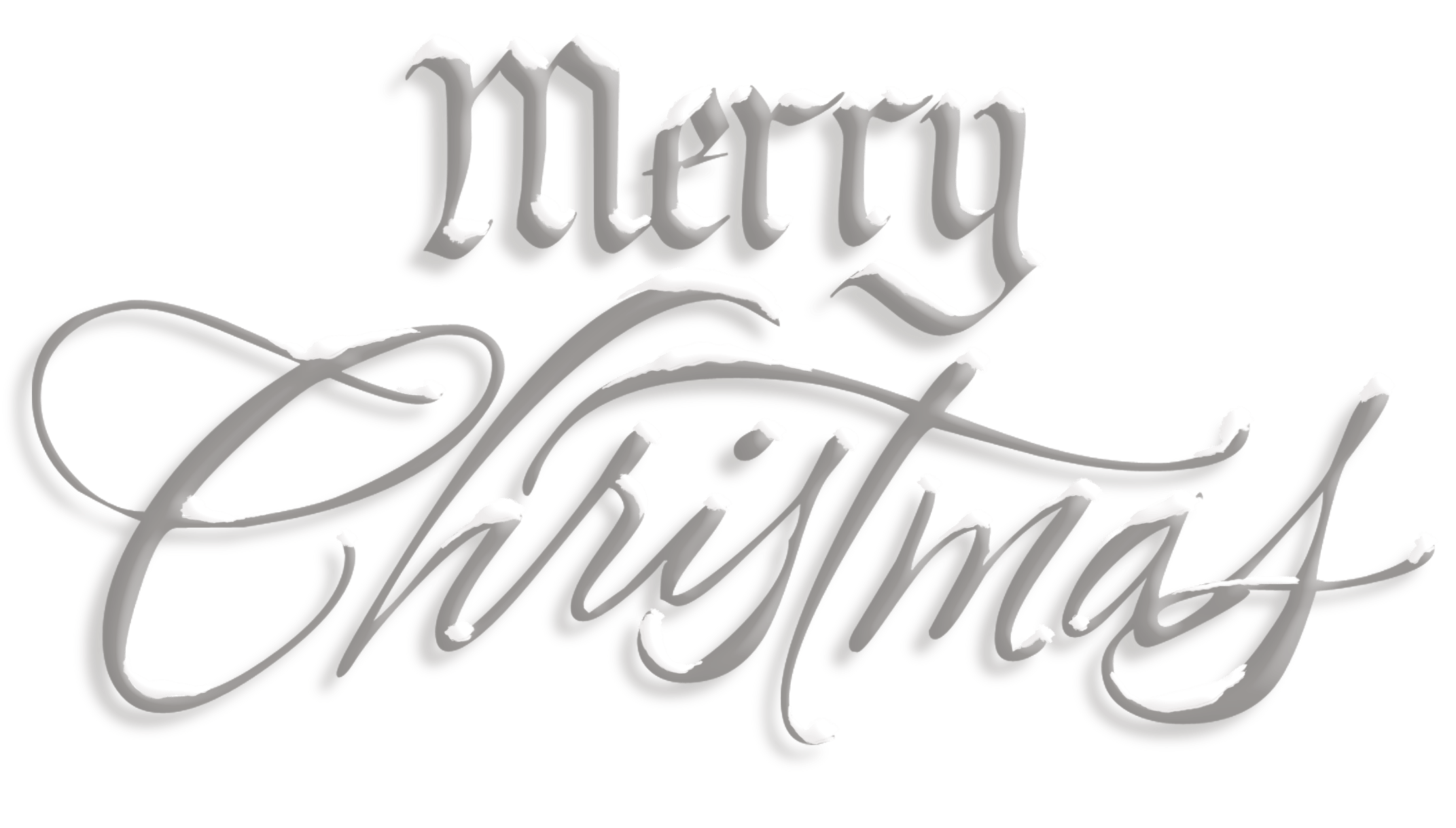 Merry Christmas Silver Snow Text transparent PNG.