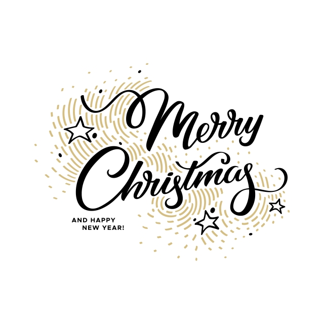 Merry Christmas Lettering On A White Background With Golden Elements.