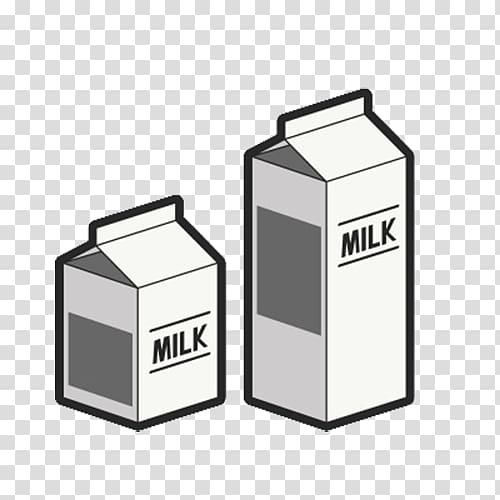 Two white milk boxes illustration, Almond milk on a milk.