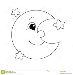 Moon clipart/coloring page.
