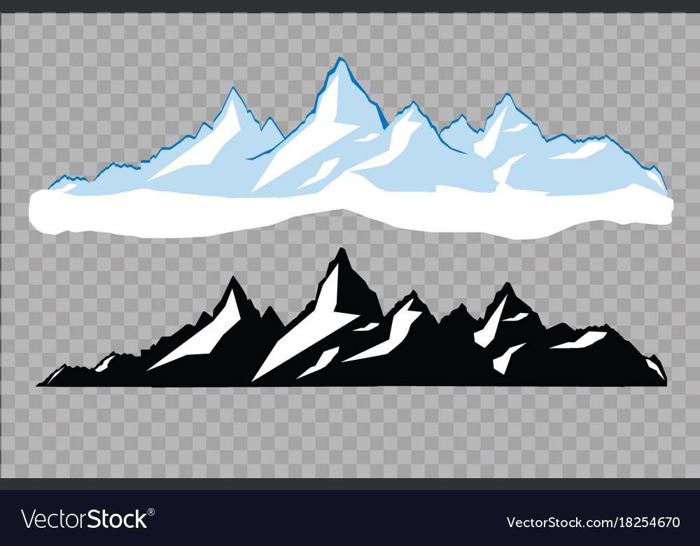 Set of black and white mountain silhouettes.