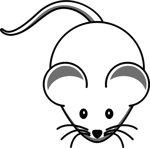 Vector clip art of cartoon white mouse with long mustache.