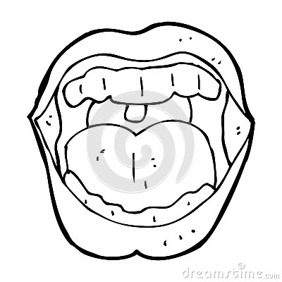 Open Mouth Clipart Black And White.