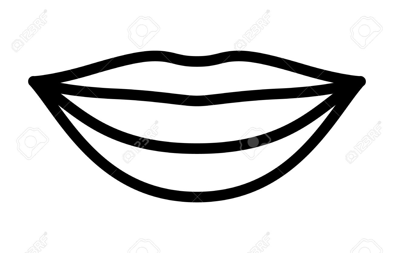 Smiling Lips With White Teeth Or Smile Line Art Vector Icon.