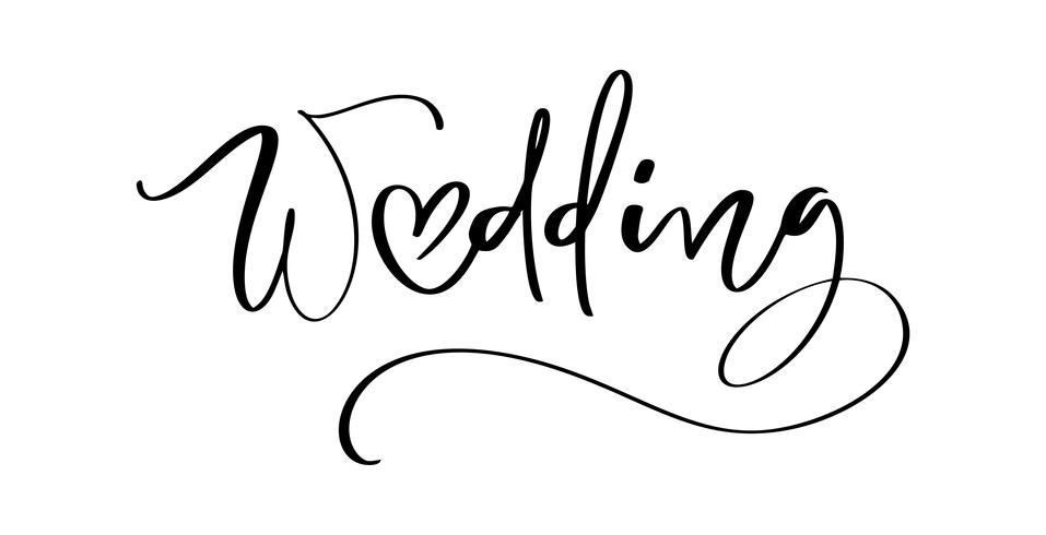 Wedding vector lettering text with heart on white background.