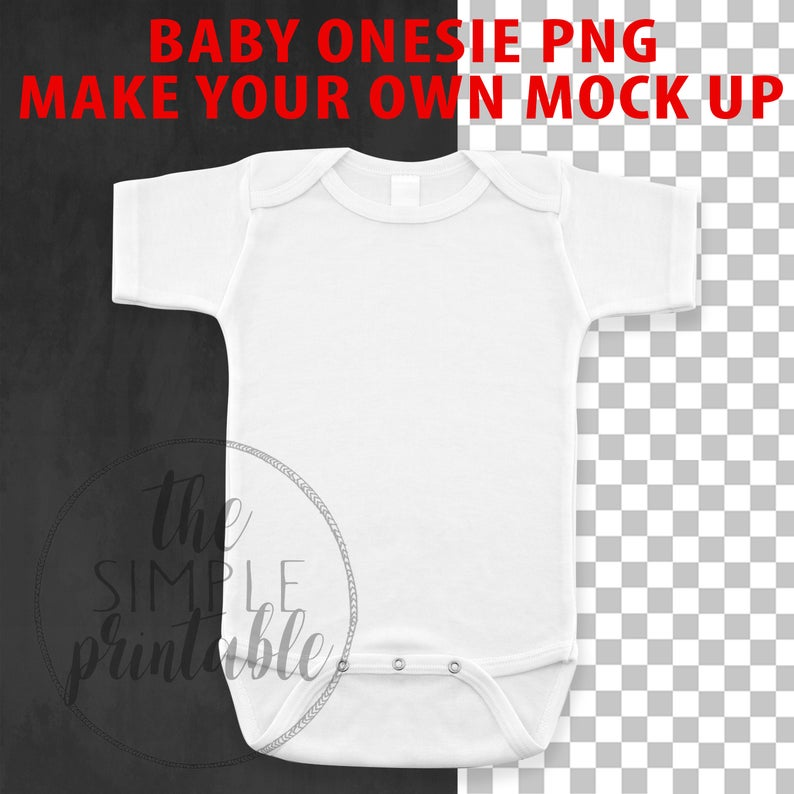 Blank White Baby Onesie PNG file, baby clip art, Baby Mock up.