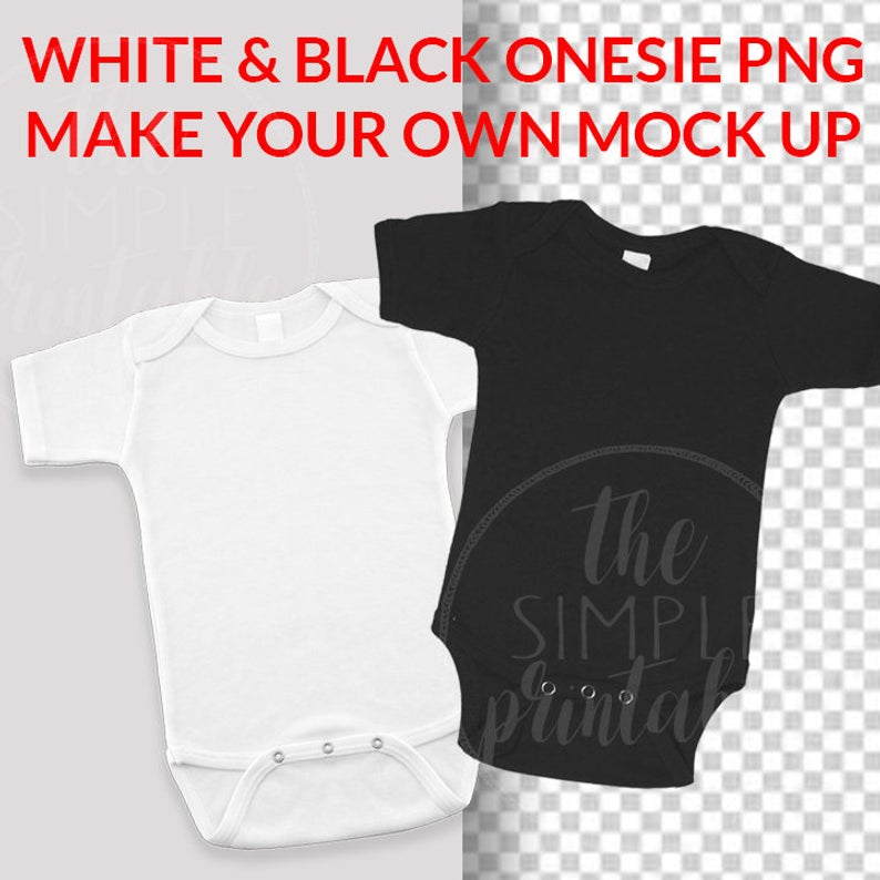 Blank White & Black Baby Onesie PNG file, baby clip art, Baby Mock up.