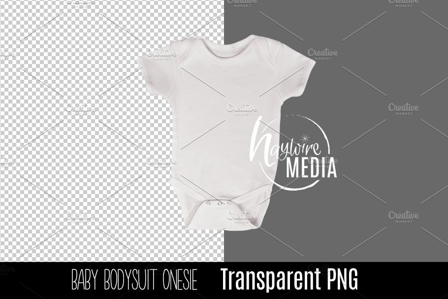 PNG Cutout Blank White Baby Onesie.