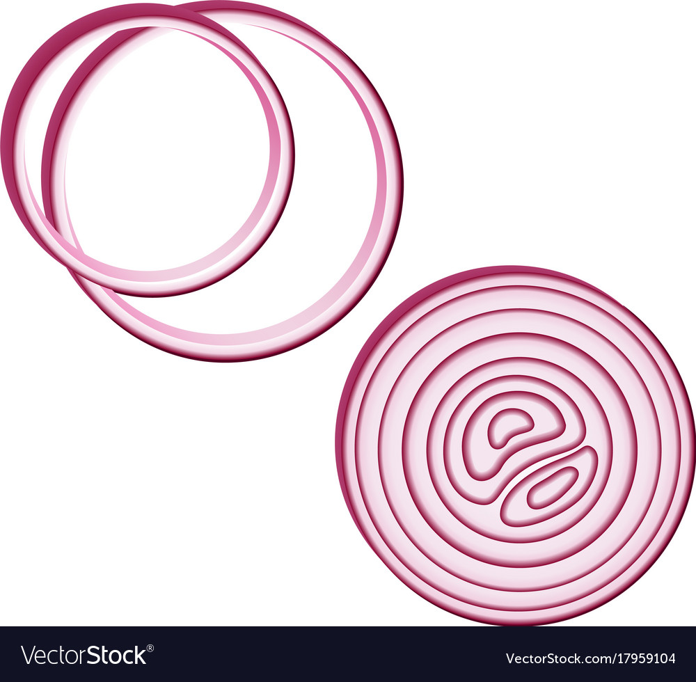 Icon red onion sliced with rings design element.