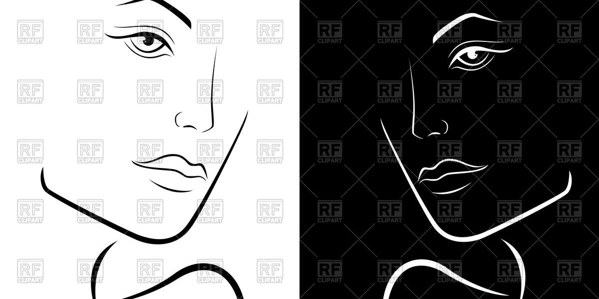 Black and white outline of woman face Stock Vector Image.
