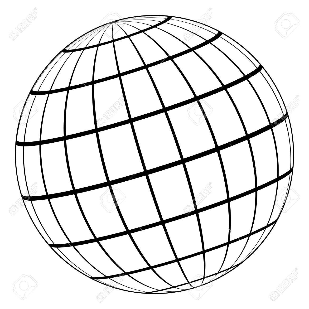 Globe Outline Drawing.