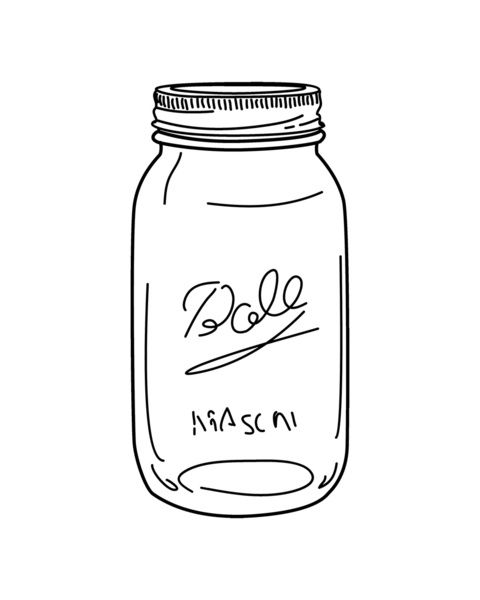 Mason jar canning with flowers clipart.