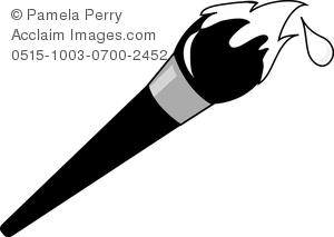 Clip Art Illustration of a Cartoon Art Paintbrush.