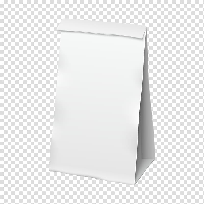 Rectangle White, Blank white paper bag material transparent.