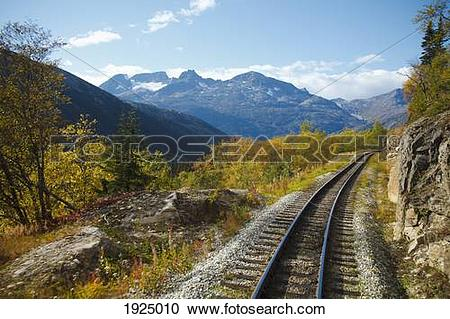 Stock Photography of railroad along white pass & yukon route.