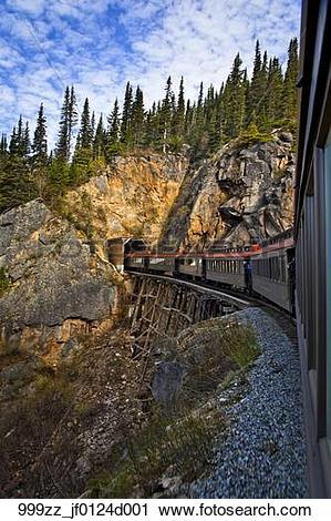 Stock Photography of White Pass & Yukon train crosses a trestle.