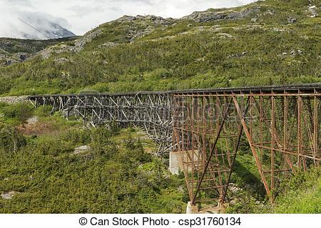 Stock Photos of The White Pass and Yukon Route Railroad Bridge.