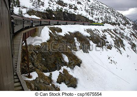 Stock Photo of The White Pass & Yukon Route train crossing a.