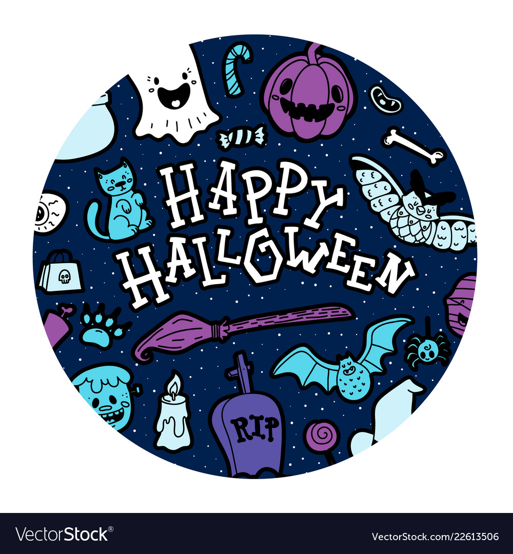 Happy halloween wish in patterned circle.