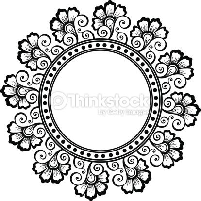 Beautiful Deco Floral Circle , Patterned frame.